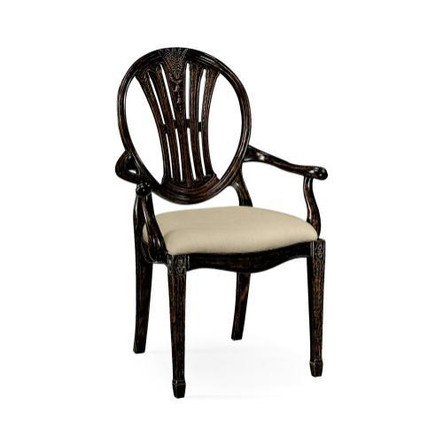 Hepplewhite Wheatsheaf Arm Chair (Black)