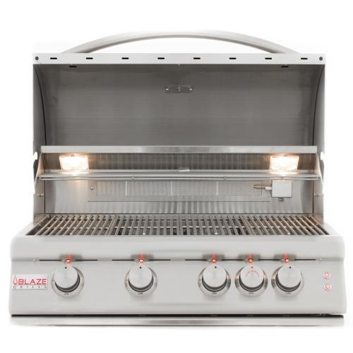 Product Image - Blaze 32 Inch 4-Burner LTE Gas Grill With Rear Burner and Built-in Lighting System, With Fuel type - Propane