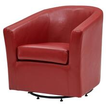 Hayden SWIVEL Bonded Leather Accent Arm Chair, Red