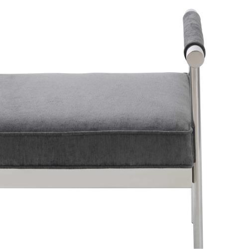 Diva Grey Velvet Bench