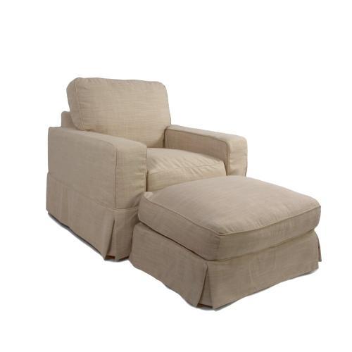 Americana Slipcovered Chair and Ottoman - 466082