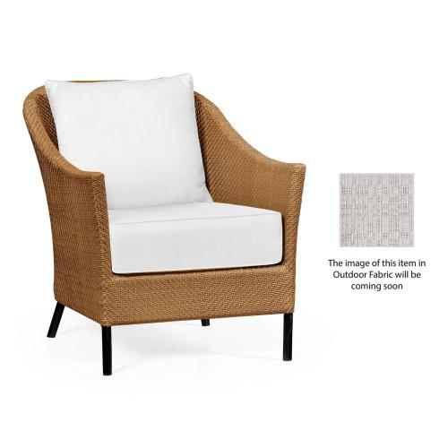 Occasional Armchair with Tan Rattan, Upholstered in Standard Outdoor Fabric