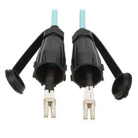 10Gb Rigid Industrial Duplex Multimode 50/125 OM3 Fiber Patch Cable (LC/LC) - IP68, Aqua, 1 m (3 ft.)