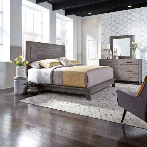 Queen Platform Bed, Dresser & Mirror