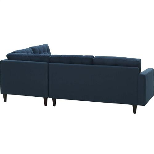 Empress 2 Piece Upholstered Fabric Right Facing Bumper Sectional in Azure