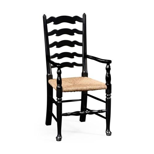 Black painted ladder back armchair