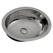 17.5 Inch x 13.75 Inch Hand Hammered Stainless Steel Oval Undermount Bathroom Sink