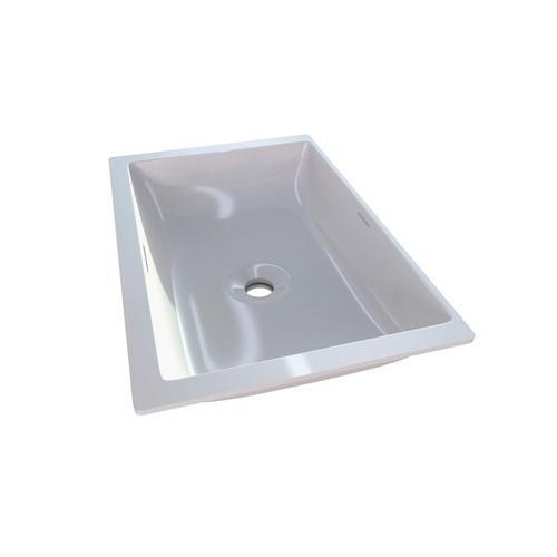 Kaldera 56 Rectangular 22 Inch Undermount Lavatory Sink in Volcanic Limestone™ with Internal Overflow - Gloss White