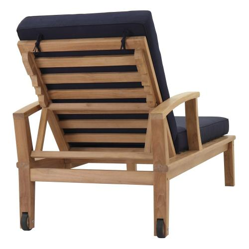 Marina Outdoor Patio Teak Single Chaise in Natural Navy
