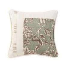 Gramercy Square Pieced Pillow W/ Floral, Stripe & White Linen Texture, 18x18