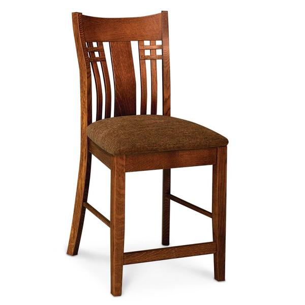 """See Details - Bradley Stationary Barstool, 30"""" Seat Height / Fabric Cushion Seat"""