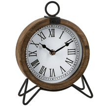 Round Desk Clock with Roman Numerals