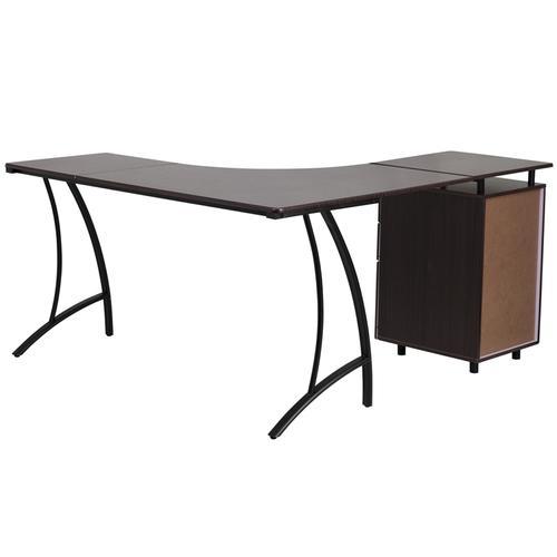 Flash Furniture - Walnut Laminate L-Shape Desk with Three Drawer Pedestal