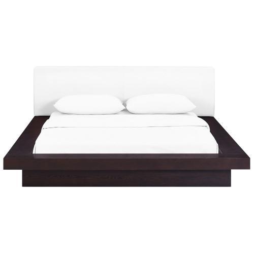 Freja Queen Vinyl Platform Bed in Cappuccino White