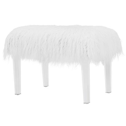 Scarlett KD Faux Fur Stool Acrylic Base, White