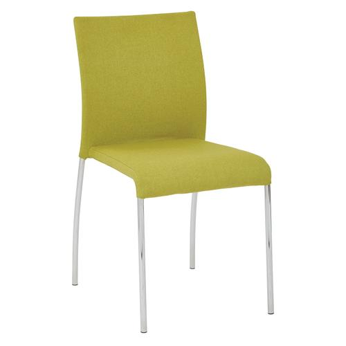 Conway Stacking Chair In Spring Green Fabric, Fully Assembled, 2-pack