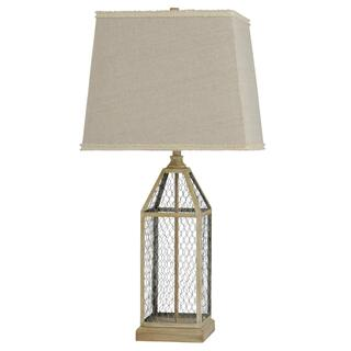 Washed Pine  Metal Cage Traditional Table Lamp in Weathered Taupe  100 Watts  3-Way