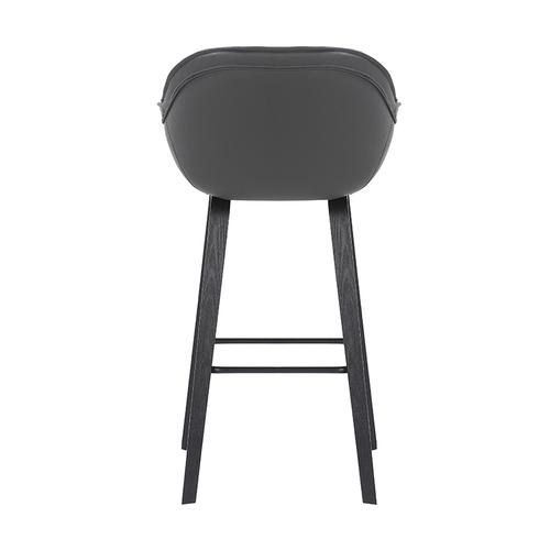 """Armen Living - Crimson 30"""" Bar Height Stool with Black Brushed Finish and Gray Faux Leather"""