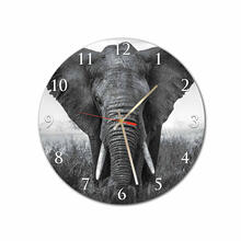 Black White Elephant Round Square Acrylic Wall Clock