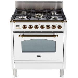 Nostalgie 30 Inch Gas Liquid Propane Freestanding Range in White with Bronze Trim