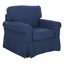 See Details - Ashton Slipcover Cottage Style Chair In Navy Fabric