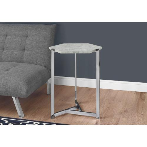 Gallery - ACCENT TABLE - HEXAGON / GREY CEMENT / CHROME METAL