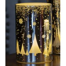 "6"" Silver Snowfall LED Candle"
