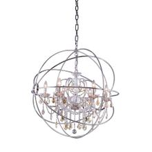 Geneva 6 light Polished nickel Chandelier Golden Teak (Smoky) Royal Cut crystal
