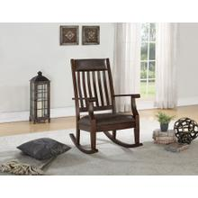 SOLID WOOD ROCKER in ESPRESSO W/ Vinyl Seat  (5910-VESP)