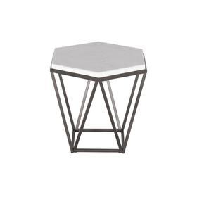 Corvus White Marble Top Hexagon End Table