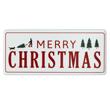 "Oversized Red & White Enamel ""Merry Christmas"" Wall Decor"
