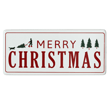 "Oversized Red & White Enamel ""Merry Christmas"" Wall Decor"