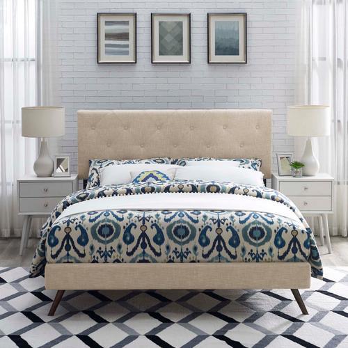 Modway - Tarah Queen Fabric Platform Bed with Round Splayed Legs in Beige