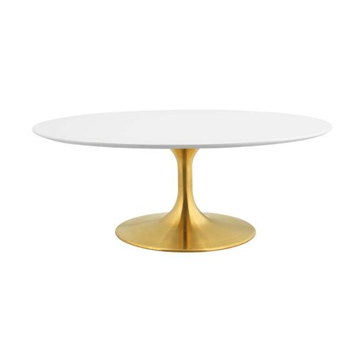 """Modway - Lippa 42"""" Oval-Shaped Wood Top Coffee Table in Gold White"""