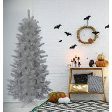Fraser Hill Farm 5-Ft. Spooky Silver Tinsel Tree, No Lights, HH050TINTREE-0SIL