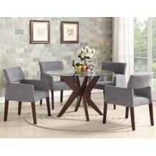 Amalie Grey 5 Piece Set (Glass Top Table & 4 Side Chairs)