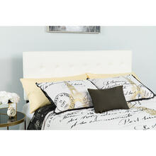 Lennox Tufted Upholstered Queen Size Headboard in White Vinyl