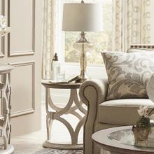 View Product - Elizabeth - Round Side Table - Smokey White/antique Oak Finish