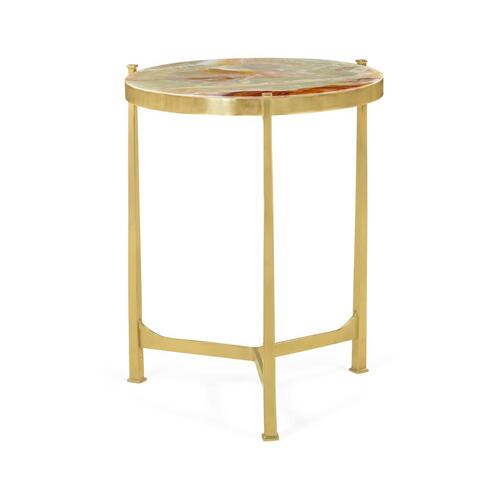Polished solid brass lamp table with Green Onyx marble top (Medium)