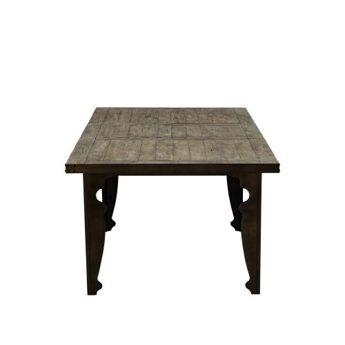 """Emerald Home Valencia Extension Dining Table W/24"""" Leaf-natural Reclaimed Pine Finish With Black Legs D559-10"""
