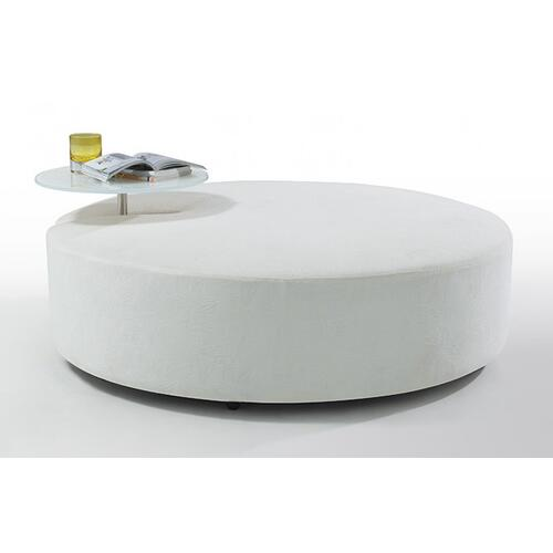 Divani Casa Modern White Fabric Ottoman and End Table