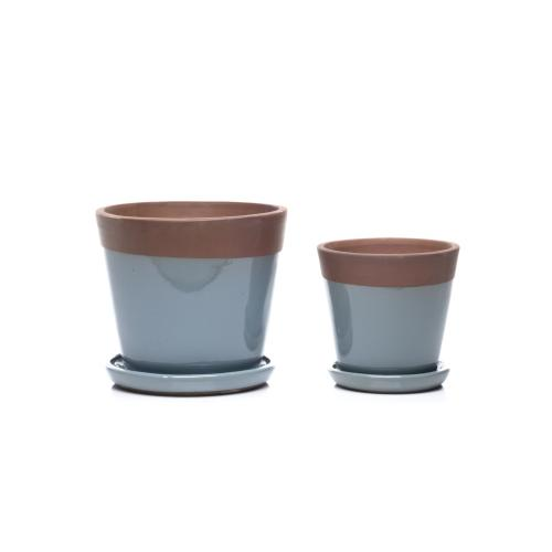 Beryl Mezzo Planter w/ attached saucer - Set of 2