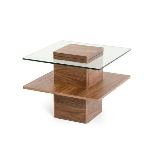 Modrest Clarion Modern Walnut and Glass End Table