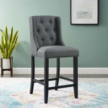 Baronet Tufted Button Upholstered Fabric Counter Stool in Gray