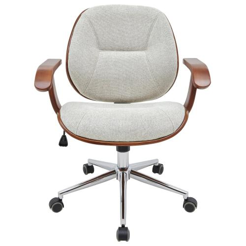 Samuel KD Fabric Bamboo Office Chair w/ Armrest, Havana Linen/Walnut