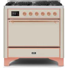 See Details - Majestic II 36 Inch Dual Fuel Liquid Propane Freestanding Range in Antique White with Copper Trim
