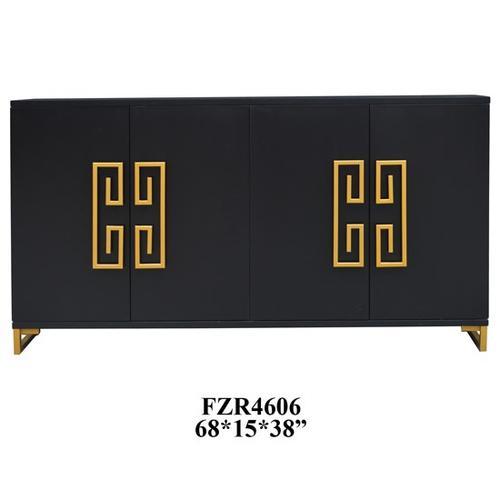Crestview Collections - Corinthian Black and Gold Key 4 Door Sideboard