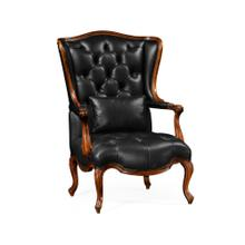 Wing-Backed Chair in Black Leather