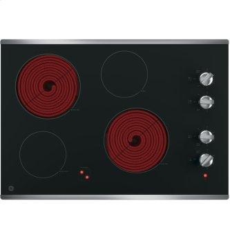 "GE 30"" Electric Smoothtop Cooktop Stainless Steel JP3030SJSS"