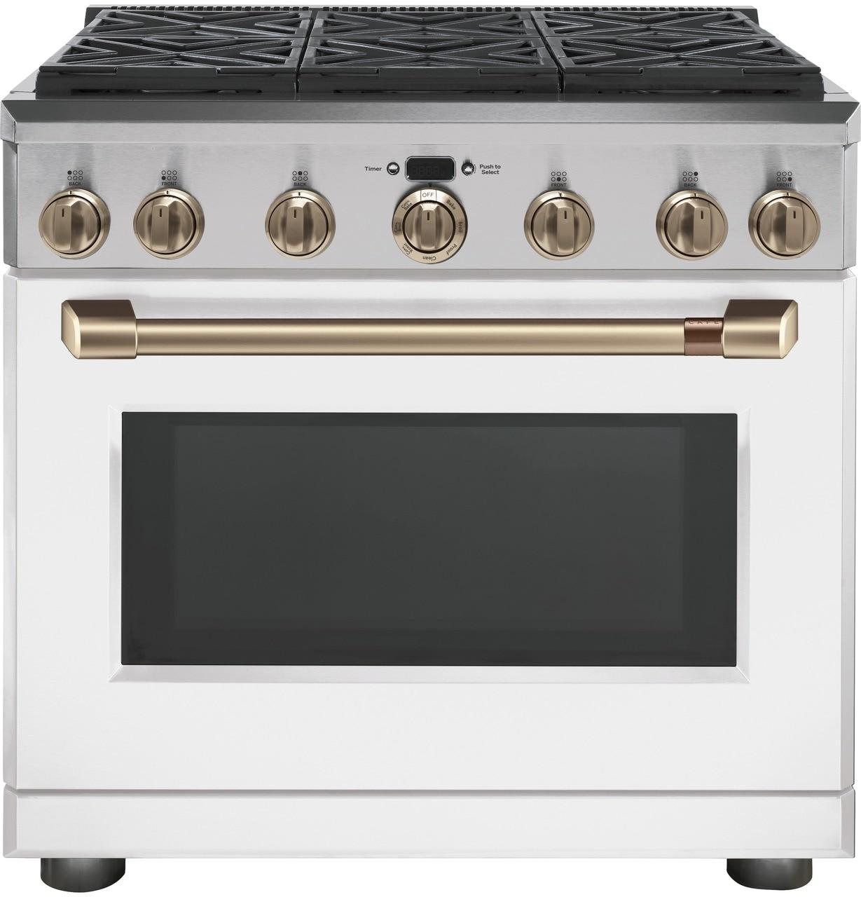 """Cafe Appliances36"""" Dual-Fuel Commercial-Style Range With 6 Burners (Natural Gas)"""